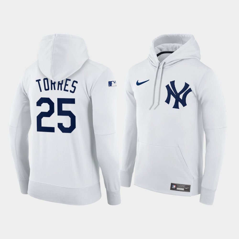 Cheap Men New York Yankees 25 Torres white home hoodie 2021 MLB Nike Jerseys